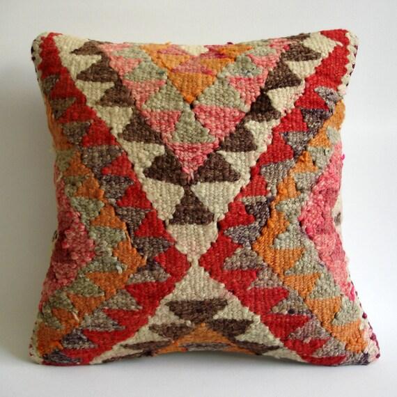 Turkish Throw Pillow Covers : Sukan / Hand Woven Vintage Turkish Kilim Pillow Cover by sukan