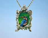 King Fisher Art Necklace original oilpainting in Art Nouveau silver frame