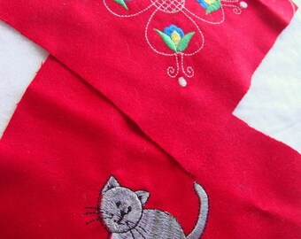 APPLIQUE PATCHES  pair of two  (Swedish floral and grey cat)