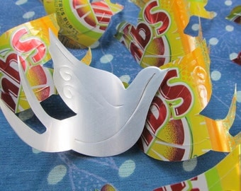 4in. BIRD  eco friendly die cuts -- lot of 15 -- cut from recycled aluminum cans (SQUIRT)