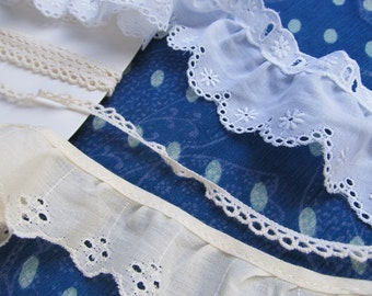 LACE SAMPLER --wide white eyelet (threadable), ivory crochet, ivory gathered eyelet (3 yards total)
