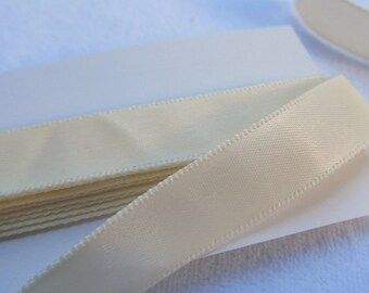 SATIN RIBBON --creamy ivory--   (just under 3 yards, 106 inches)