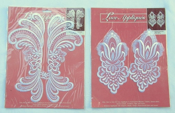 LACE APPLIQUES  --2 packages-- 2 pairs--  white
