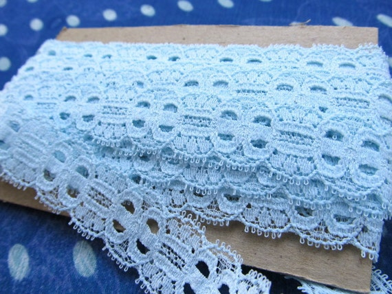 LACE --stretchy-- baby blue--  263 inches, 7 1/3 yards