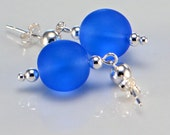 Sapphire Blue, Cobalt Blue Sea Glass Sterling Silver Earrings