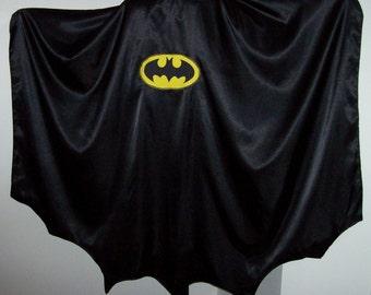 Adult Size Black Satin Batman / Vampire Cape Custom made new