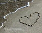 Romantic Heart in the Sand  5x7 Photo- affordable beach themed art, beach art, beach writing, wedding gift, summer love, heart photo print