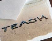 Beach Theme TEACH Small Note Card Set of 4- word created with beach stones in the sand, teacher gift, cards for teachers, teacher card set