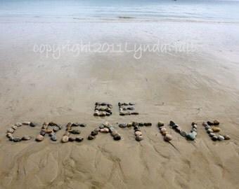 Beach Words BE CREATIVE Photo 5x7 with Mat- encouraging sentiment, beach stones, beach photography, positive words, beach decor, artist gift