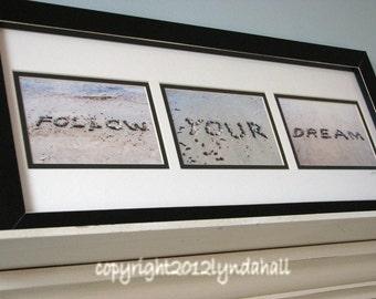 Beach Inspired Art, FOLLOW YOUR DREAM, positive words created with beach stones, beach theme wall art, coastal art, beach words, grad gift