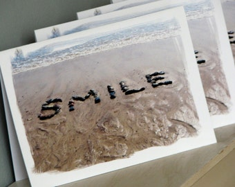Beach theme cards- SMILE  Small Note Card Set of 4- word art created with beach stones in sand, beach wish cards, teacher gift, upbeat card