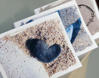 Beach Theme Romantic Greeting Cards- Set of 3, hearts in sand, unique nature Inspired beach cards, Valentine card, beach wedding, heart card