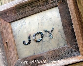 Rustic JOY Beach Photo Sentiment- 5x7 photo print, barn wood frame, happy word art, beach stone art, beach photography, rustic home decor