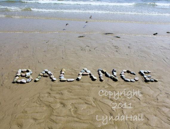 Beach Theme Photo Sentiment BALANCE- 5x7 photo with mat, calming peaceful word, natural beach stones, word art, yoga, coastal photo art,