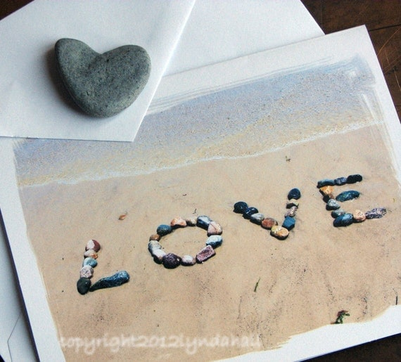Romantic LOVE Cards- beach theme cards, beach stones, wedding cards, love cards, romantic beach cards, Valentine's Day Cards, love letters