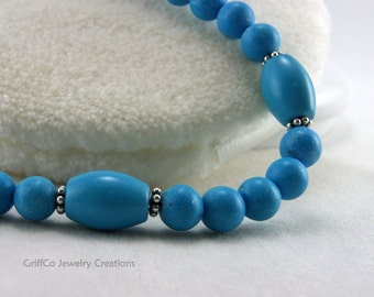 Turquoise Howlite and Sterling Bracelet