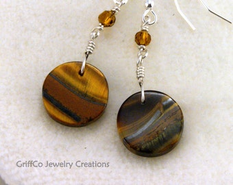Tiger Eye Crystal and Sterling Earrings