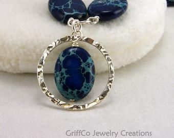 Blue Impression Jasper and Hammered Sterling Necklace