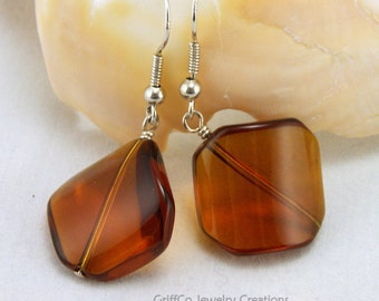 Amber Glass and Sterling Earrings