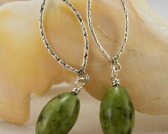 Green Larimar Quartz and Sterling Earrings