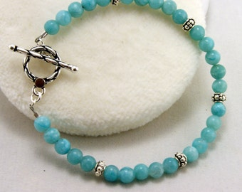 Pale Blue Agate and Sterling silver Bracelet