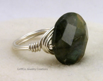 Iolite and Sterling Wire Ring