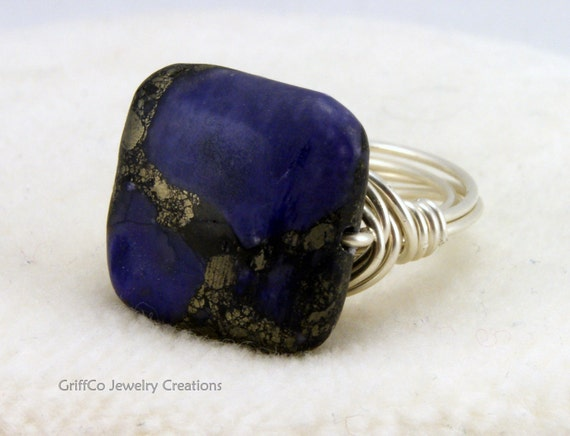 Purple Pyrite and Sterling Ring