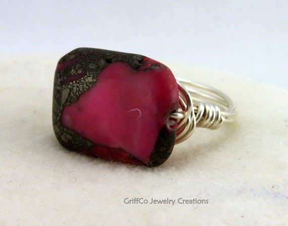 Pink Opal, Pyrite and Sterling Wrap Ring