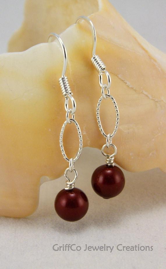 Burgundy Pearl and Sterling Earrings
