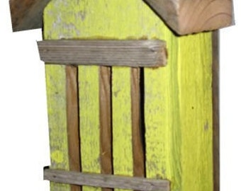 Rustic Yellow Butterfly House-Recycled Fence Wood