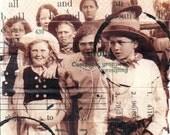 Costumed Kids - original 4x4 mixed media collage
