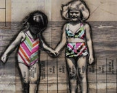 RESERVED for Willowpearls - Beach Babes - original 6x6 mixed media collage on canvas