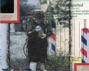 The Photographer - original 5x7 mixed media collage