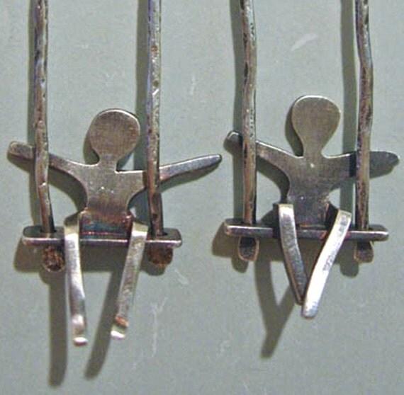 Silver People on Swing Earrings