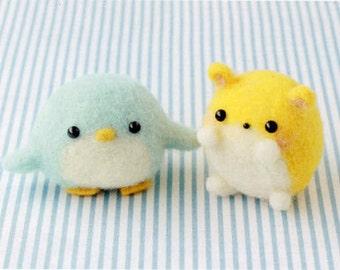 Needle felting DIY handmade felt wool Little Penguin and a small hamster --- Japanese kit package (Japanese / For Beginner)