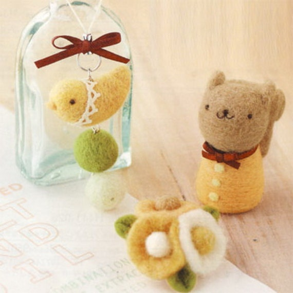 DIY handmade felt wool Bird phone strap, flower pins and a small squirrel --- Japanese kit package
