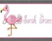 Personalized, Flamingo Laminate Placemat, kitchen decor, custom placement, kids placemat, birthday gift, party favor, room decor