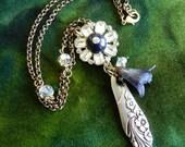 TREASURY ITEM - Vintage Silverware Spoon Handle and Rhinestone Button Necklace