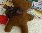 Good Old Fashioned Teddy Bear Baby Toy - Brown Herringbone Felted Wool