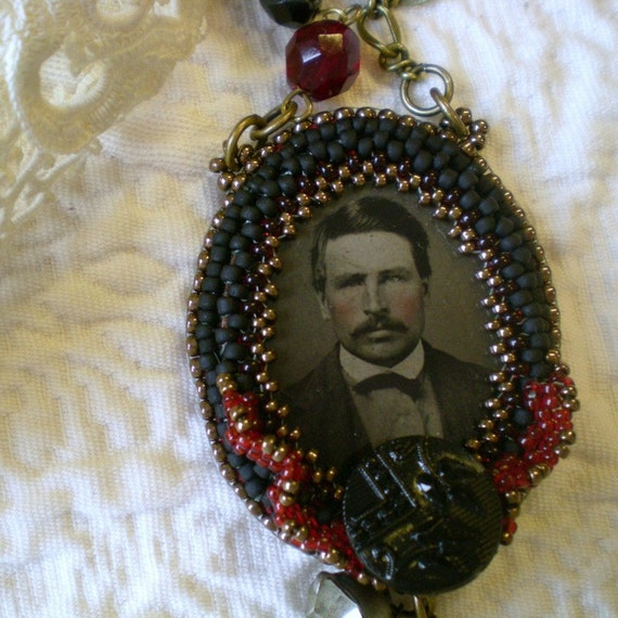 Beaded Antique Tintype Pendant and Necklace - Handsome, Pink Cheeked Man With Mustache