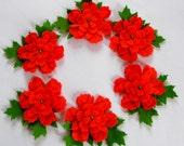 Set of 6 Pieces Felt Leafy Flowers Embellishments For Wedding