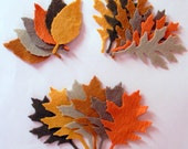 72 Piece Die Cut Felt Leaves-Brown, Taupe, Walnut Brown,Citrin, Tan,Red Orange-Autumn Colors