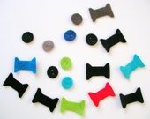 12 Piece Iron On-No Sew- Die Cut Felt Appliques- Sewing Themed -Petit Felt Button, Spools -Mixed Colors
