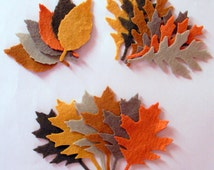 72 Piece Die Cut Felt Leaves-Brown, Taupe, Walnut Brown,Citrin, Tan,Red Orange-Autumn Colors