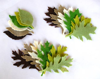 72 Piece Die Cut Felt Leaves
