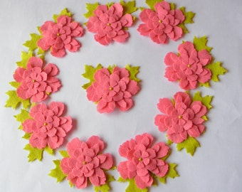 Set of 12 Pieces Felt Leafy Flowers Embellishments- Pink, Green- Spring, Easter Themes