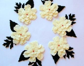 Set of 12 Pieces Felt Leafy Flowers Embellishments For Christmas- Cream, Black