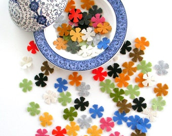 48 Piece Die Cut - Small Felt Flowers-Mixed Colors