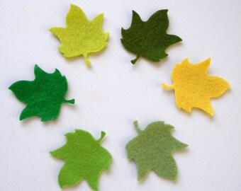 12 Piece Iron On-No Sew- Die Cut Felt Appliques- Petit Maple Leaves