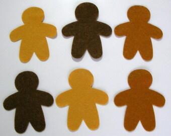 12 Piece Die Cut Felt Gingerbread Man, Brown, Cinnamon, Ginger Colors DIY Kit
